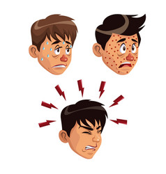 White background set faces various sickness vector