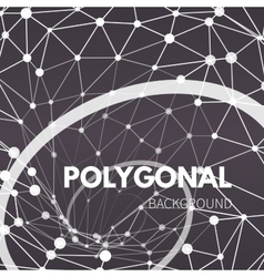 Wireframe mesh polygonal background Wave with vector image