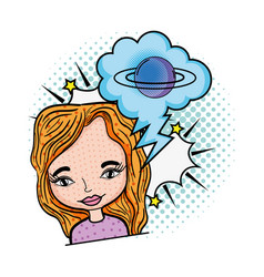 woman with speech bubble and saturn pop art vector image