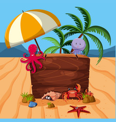 wooden sign with many sea animals on beach vector image