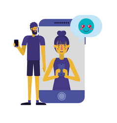 young couple with smartphone with speech bubble vector image