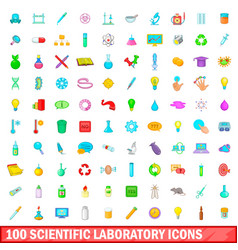 100 scientific laboratory icons set cartoon style vector image vector image