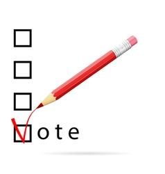 Checkboxes for voting with a red pencil vector image