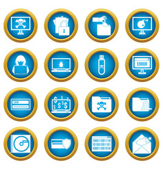criminal activity icons blue circle set vector image