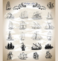 design set with vintage ships vector image