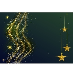 Gold Dust wave and yellow stars New Year vector image