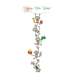 Happy new year card design with funny monkeys vector image