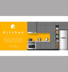 Interior design Modern kitchen background 5 vector image vector image