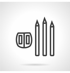 Line icon for pencil and sharpener vector