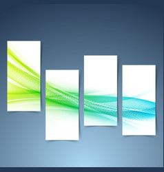 modern green blue futuristic swoosh banner set vector image