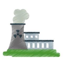 Nuclear power station energy pollution ed vector