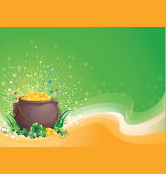 pot of gold for saint patrick day vector image