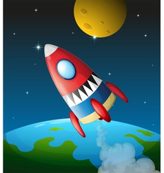 A spacecraft in the sky vector image vector image