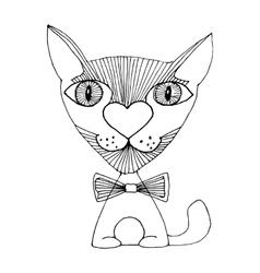 cat love sketch vector image vector image