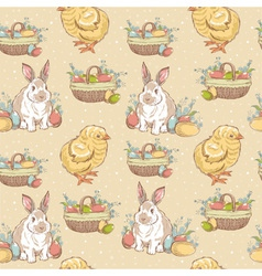 Easter vintage hand-drawn seamless pattern vector image