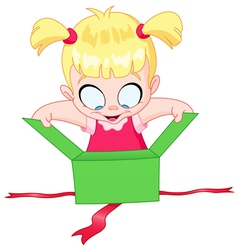girl open gift vector image