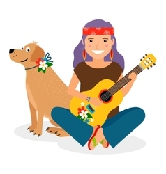 Hippie girl with guitar and dog vector