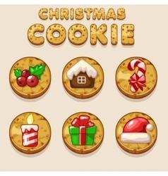 Set Cartoon Christmas cookies biskvit food icons vector image vector image