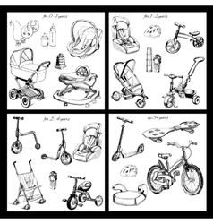 set of hand drawn baby transport vector image