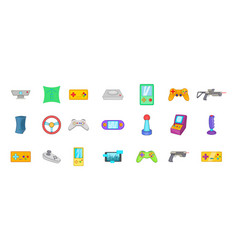 video game icon set cartoon style vector image