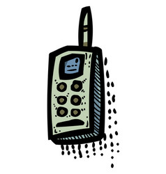 cartoon image of phone icons set telephone vector image vector image