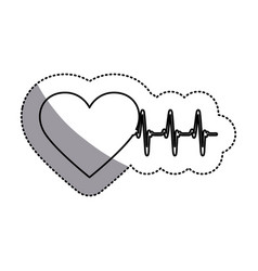 contour symbol heartbeat with heart icon vector image