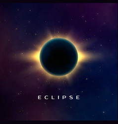 dark abstract background with a solar eclipse vector image