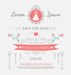 wedding set ornaments and decorative elements vector image
