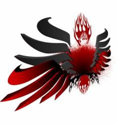 3d black red fire wings vector image vector image