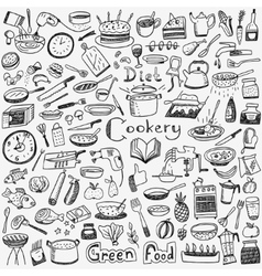 Cookery natural food - doodles set vector image vector image