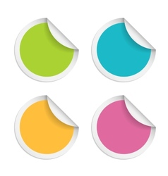 round stickers with curled edge isolated on white vector image