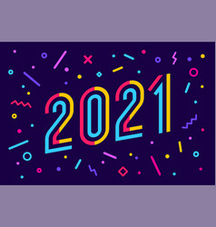 2021 greeting card with inscription 2021 vector image