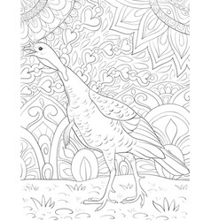 Adult coloring bookpage a cute turkey on the vector