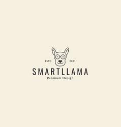 Animal head cartoon cute lines llama logo design vector
