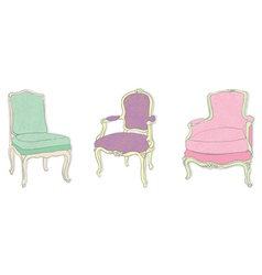 antique rococo chairs vector image