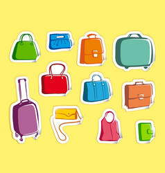 bags and suitcases doodles on stickers vector image