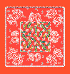 Bandana red silk scarf paisley design vector