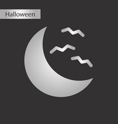 Black and white style icon halloween moon bats vector