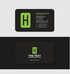 Black business cards with the green letter h vector