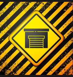 Black garage icon isolated on yellow background vector