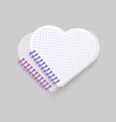 blank spiral notepad notebook with shape of heart vector image