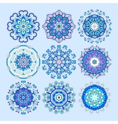 blue circle lace ornament round ornamental vector image