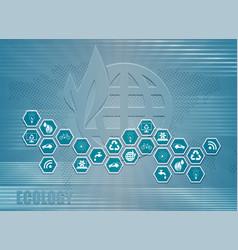 Blue light background c symbols ecology vector