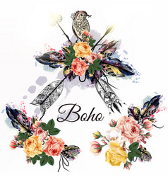 Boho tribal design with arrows roses and birds vector