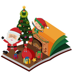 Book with santa and elf for christmas vector