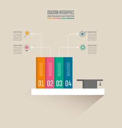 books and graduation cap on shelf with timeline vector image