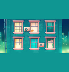 building facade with windows at night vector image