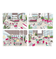 Bundle of colorful sketches of restaurant or vector