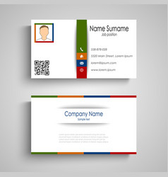 Business card with colorful slat template vector