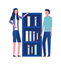 business man and woman office bookshelf vector image